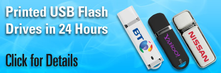 Printed USB Flash Drives in just 24 hours. Branded with your company logo and delivered to your door.