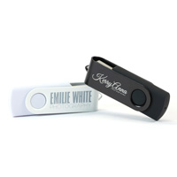 Engraved 4GB USB Twister - White/White